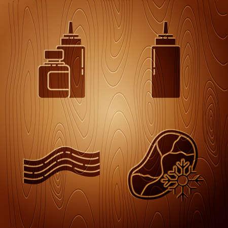 Set Fresh frozen steak meat, Sauce bottle, Bacon stripe and Sauce bottle on wooden background. Vector Çizim