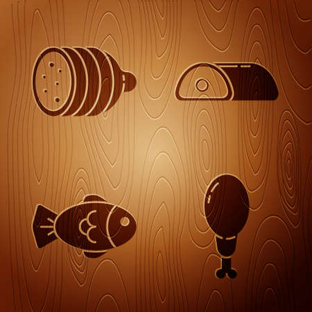 Set Chicken leg, Salami sausage, Fish and Meat on wooden background. Vector