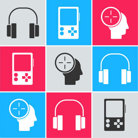 Set Headphones, Portable video game console and Head hunting concept icon. Vector