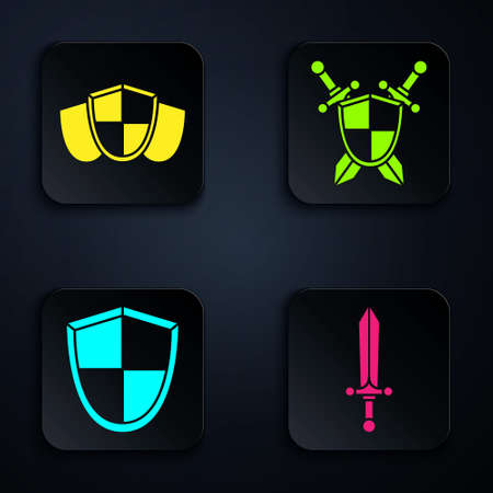 Set Medieval sword, Shield, Shield and Medieval shield with crossed swords. Black square button. Vector