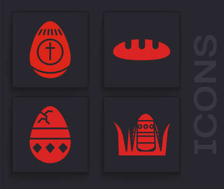 Set Easter egg, Easter egg, Bread loaf and Cracked egg icon. Vector Çizim