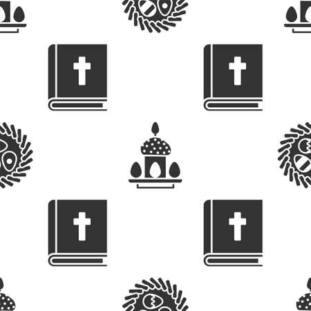 Set Easter egg in a wicker nest, Easter cake and eggs and Holy bible book on seamless pattern. Vector