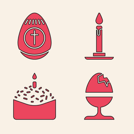 Set Chicken egg on a stand, Easter egg, Burning candle in candlestick and Easter cake and candle icon. Vector