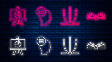 Set line Test or exam sheet, Ringing bell, XYZ Coordinate system and Mobile calculator interface. Glowing neon icon on brick wall. Vector