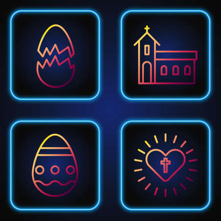 Set line Christian cross and heart, Easter egg, Broken egg and Church building. Gradient color icons. Vector Çizim