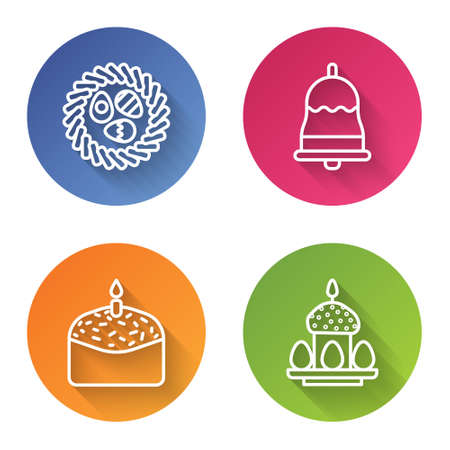Set line Easter egg in a wicker nest, Ringing bell, Easter cake and candle and Easter cake and eggs. Color circle button. Vector