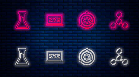 Set line XYZ Coordinate system, Solar, Test tube and flask and Molecule. Glowing neon icon on brick wall. Vector