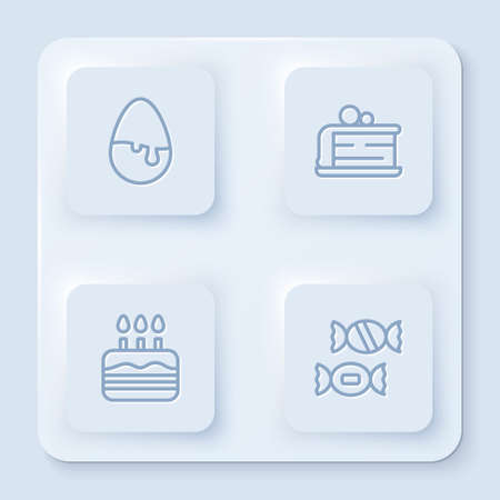 Set line Chocolate egg, Piece of cake, Cake with burning candles and Candy. White square button. Vector
