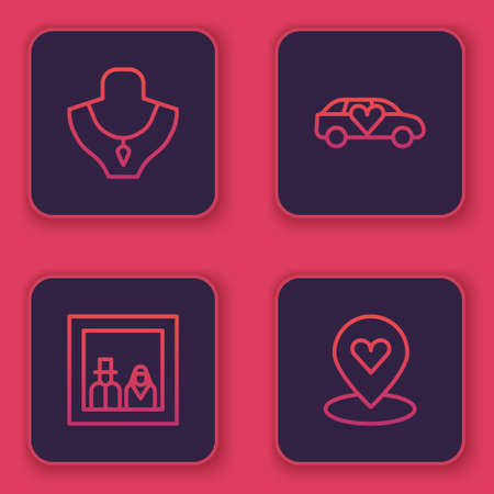 Set line Necklace on mannequin, Family photo, Limousine car and Location with heart. Blue square button. Vector