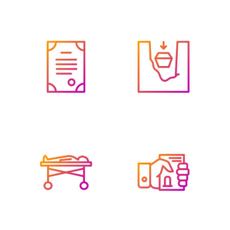 Set line Death certificate in hand, Dead body the morgue, and Coffin grave. Gradient color icons. Vector