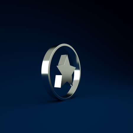 Silver Star icon isolated on blue background. Favorite, best rating, award symbol. Minimalism concept. 3d illustration 3D render Stockfoto