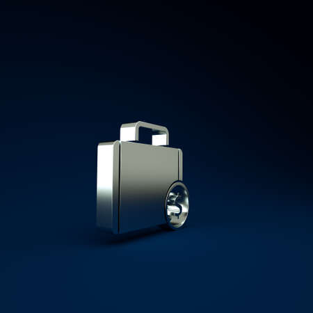Silver Briefcase and money icon isolated on blue background. Business case sign. Business portfolio. Minimalism concept. 3d illustration 3D render Stockfoto
