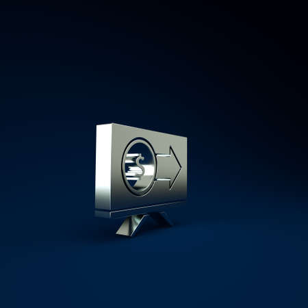 Silver Monitor with dollar symbol icon isolated on blue background. Online shopping concept. Earnings in the Internet, marketing. Minimalism concept. 3d illustration 3D render Stockfoto