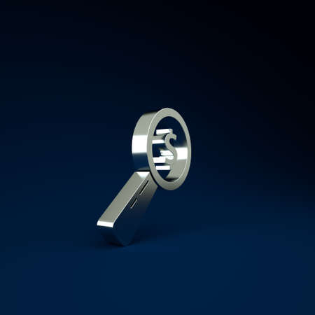 Silver Magnifying glass and dollar icon isolated on blue background. Find money. Looking for money. Minimalism concept. 3d illustration 3D render Stockfoto