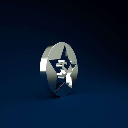 Silver Star and dollar icon isolated on blue background. Favorite, best rating, award symbol. Minimalism concept. 3d illustration 3D render Stockfoto