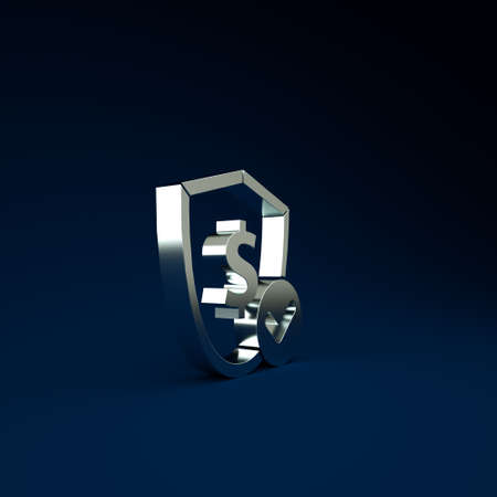 Silver Shield with dollar symbol icon isolated on blue background. Security shield protection. Money security concept. Minimalism concept. 3d illustration 3D render Stockfoto