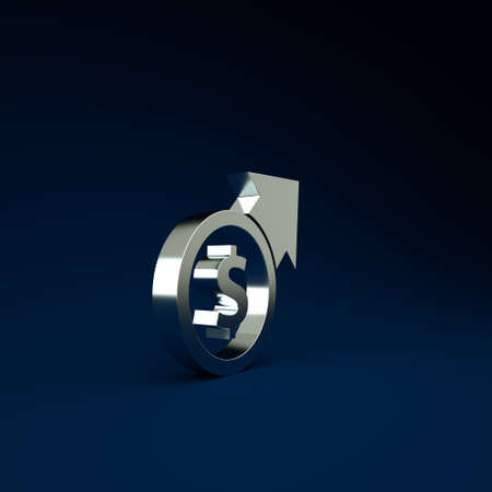 Silver Financial growth and coin icon isolated on blue background. Increasing revenue. Minimalism concept. 3d illustration 3D render Stockfoto