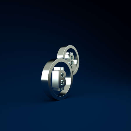 Silver Cryptocurrency coin Bitcoin icon isolated on blue background. Physical bit coin. Blockchain based secure crypto currency. Minimalism concept. 3d illustration 3D render Stockfoto