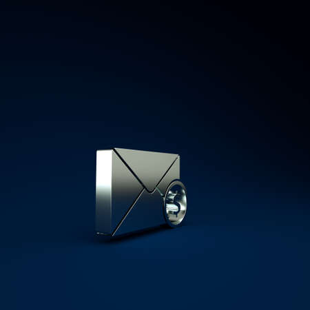 Silver Envelope with coin dollar symbol icon isolated on blue background. Salary increase, money payroll, compensation income. Minimalism concept. 3d illustration 3D render