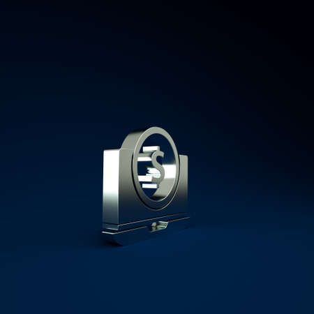 Silver Laptop with dollar symbol icon isolated on blue background. Online shopping concept. Earnings in the Internet, marketing. Minimalism concept. 3d illustration 3D render