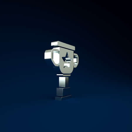 Silver Award cup icon isolated on blue background. Winner trophy symbol. Championship or competition trophy. Sports achievement sign. Minimalism concept. 3d illustration 3D render Stockfoto