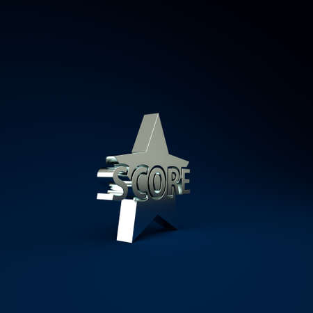 Silver Star icon isolated on blue background. Favorite, score, best rating, award symbol. Minimalism concept. 3d illustration 3D render Stockfoto
