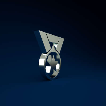 Silver Medal icon isolated on blue background. Winner symbol. Minimalism concept. 3d illustration 3D render