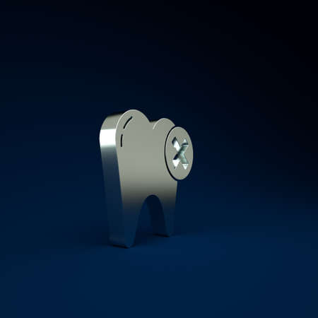 Silver Tooth with caries icon isolated on blue background. Tooth decay. Minimalism concept. 3d illustration 3D render