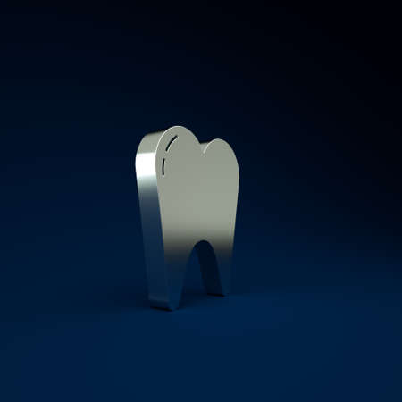 Silver Tooth icon isolated on blue background. Tooth symbol for dentistry clinic or dentist medical center and toothpaste package. Minimalism concept. 3d illustration 3D render