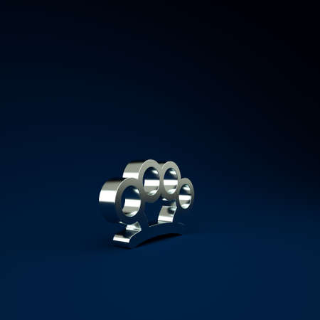 Silver Brass knuckles icon isolated on blue background. Minimalism concept. 3d illustration 3D render