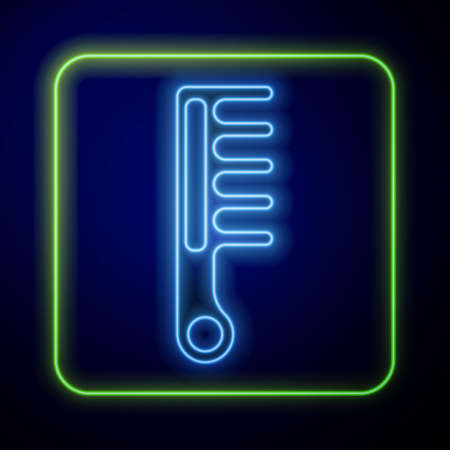 Glowing neon Hairbrush icon isolated on blue background. Comb hair sign. Barber symbol. Vector Ilustración de vector