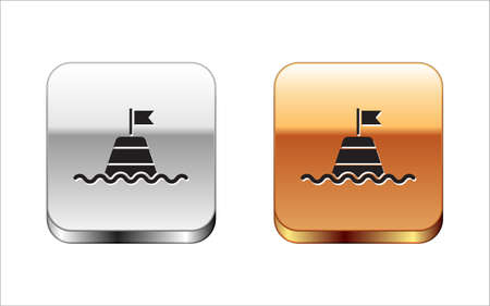 Black Floating buoy on the sea icon isolated on white background. Silver-gold square button. Vector Иллюстрация