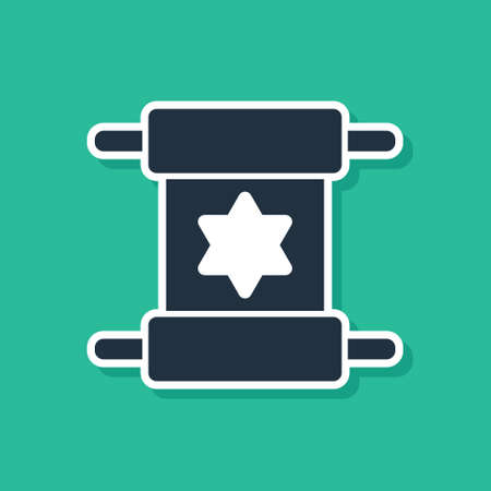 Blue Torah scroll icon isolated on green background. Jewish Torah in expanded form. Star of David symbol. Old parchment scroll. Vector