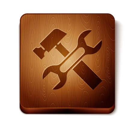 Brown Crossed hammer and wrench spanner icon isolated on white background. Hardware tools. Wooden square button. Vector