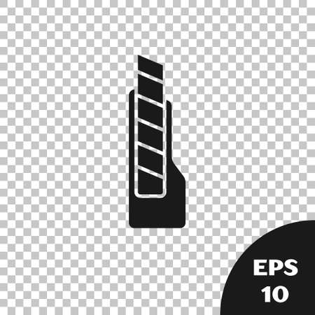 Black Stationery knife icon isolated on transparent background. Office paper cutter. Vector 向量圖像