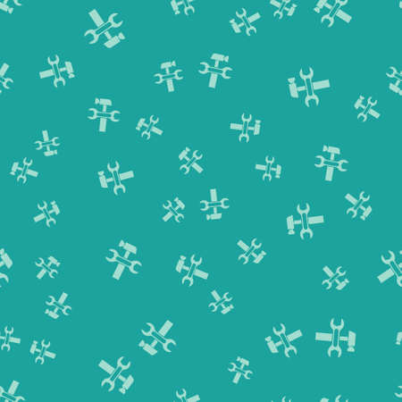 Green Crossed hammer and wrench spanner icon isolated seamless pattern on green background. Hardware tools. Vector