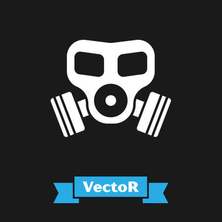 White Gas mask icon isolated on black background. Respirator sign. Vector