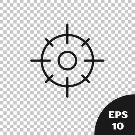 Black Target sport icon isolated on transparent background. Clean target with numbers for shooting range or shooting. Vector