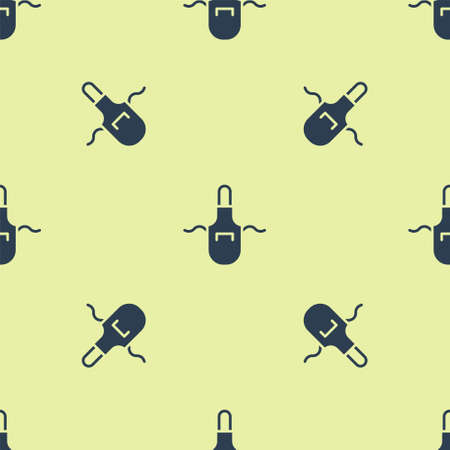 Blue Kitchen apron icon isolated seamless pattern on yellow background. Chef uniform for cooking. Vector 向量圖像