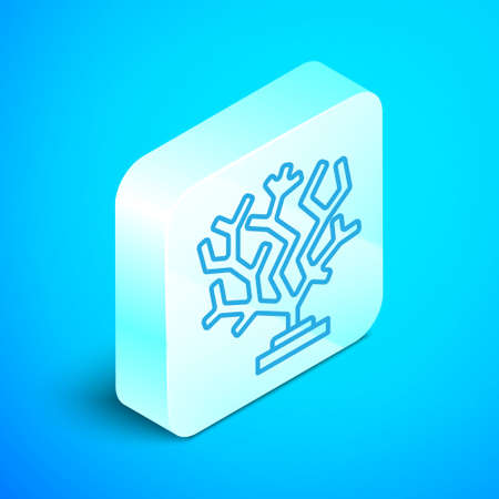 Isometric line Coral icon isolated on blue background. Silver square button. Vector