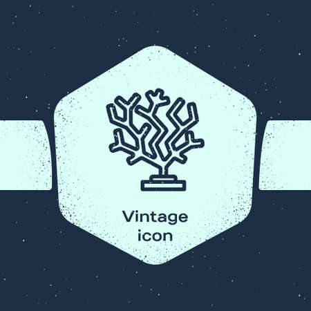 Grunge line Coral icon isolated on blue background. Monochrome vintage drawing. Vector
