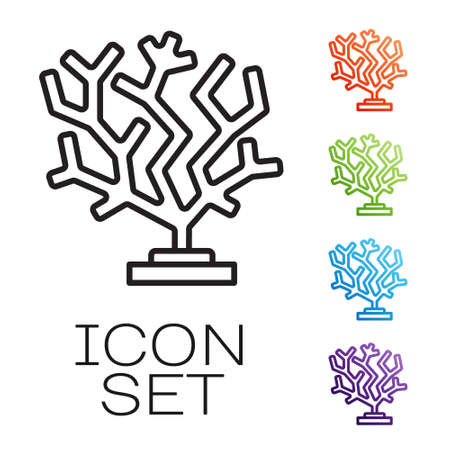 Black line Coral icon isolated on white background. Set icons colorful. Vector Çizim