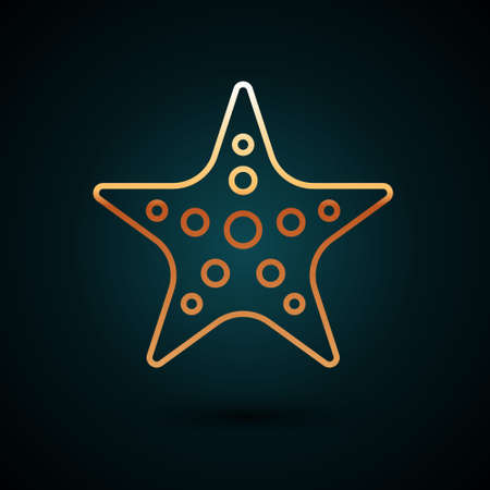 Gold line Starfish icon isolated on dark blue background. Vector Çizim