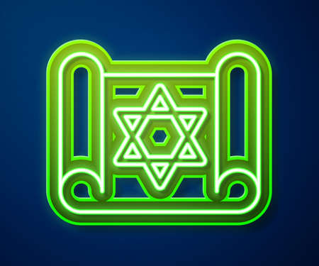 Glowing neon line Torah scroll icon isolated on blue background. Jewish Torah in expanded form. Star of David symbol. Old parchment scroll. Vector Çizim