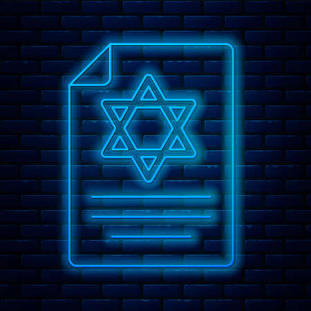 Glowing neon line Torah scroll icon isolated on brick wall background. Jewish Torah in expanded form. Star of David symbol. Old parchment scroll. Vector Çizim