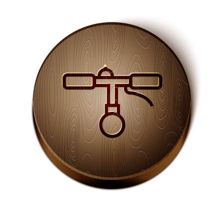 Brown line Bicycle handlebar icon isolated on white background. Wooden circle button. Vector