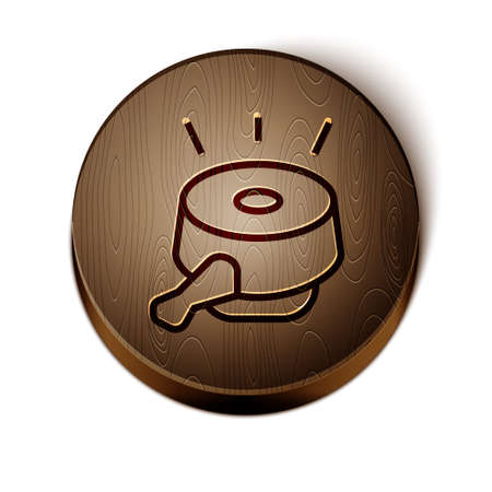 Brown line Bicycle bell icon isolated on white background. Wooden circle button. Vector