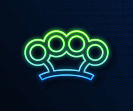 Glowing neon line Brass knuckles icon isolated on blue background. Vector Vettoriali