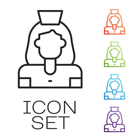 Black line Cleaning lady service icon isolated on white background. Set icons colorful. Vector