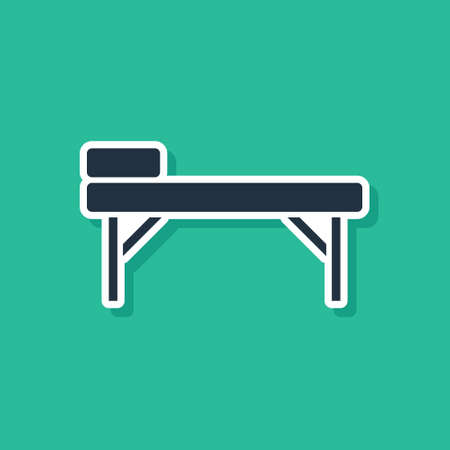 Blue Massage table icon isolated on green background. Vector